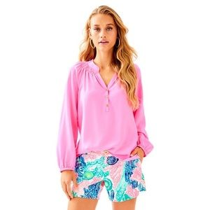 Lily Pulitzer silk Elsa top in sunset pink